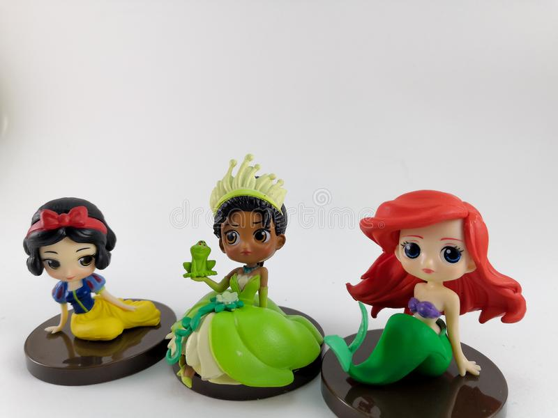 THAILAND, Jan 2018 :Princess team on white background disney toy collection in marketing campaign from Tesco Lotus Express. THAILAND, Jan 2018 :the Princess team royalty free stock images