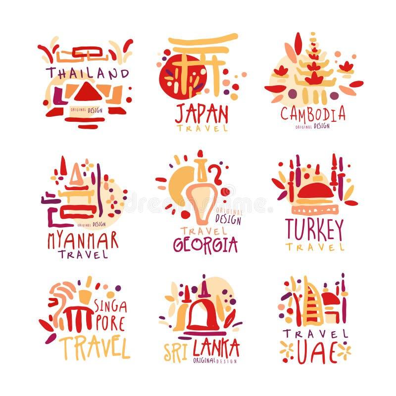 Thailand, Japan, Cambodia, Myanmar, Georgia, Singapore, Turkey, Sri Lanka set of colorful promo signs. Summer travel. Hand drawn vector Illustrations for travel stock illustration