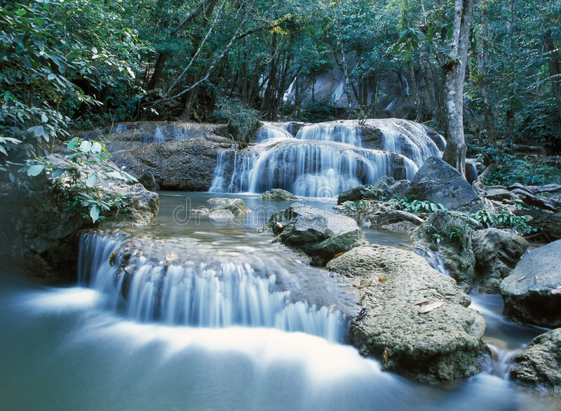 Thailand jungle waterfall royalty free stock photography