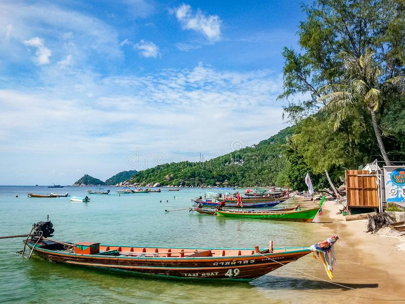 Thailand Koh Tao Boats South East Asia stock afbeelding