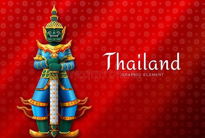 Thailand-Kunst des thailändischen riesiges hohes Sonderkommando Tempel-Wächters stock abbildung