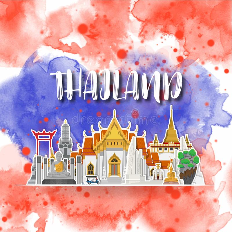 Thailand Landmark Global Travel And Journey watercolor background. Vector Design Template.used for your advertisement, book, royalty free illustration
