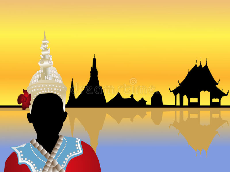 Thailand-Landschaftvektor stock abbildung