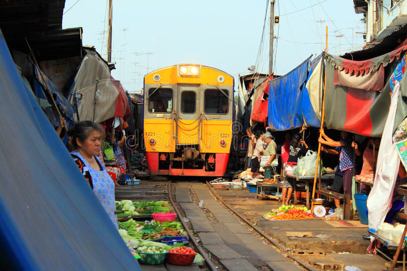 Thailand Maeklong Train Market stock photography