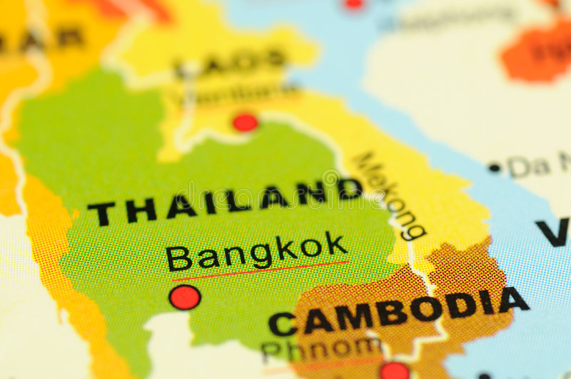 Thailand on map. Close up of Bangkok, Thailand on map stock image