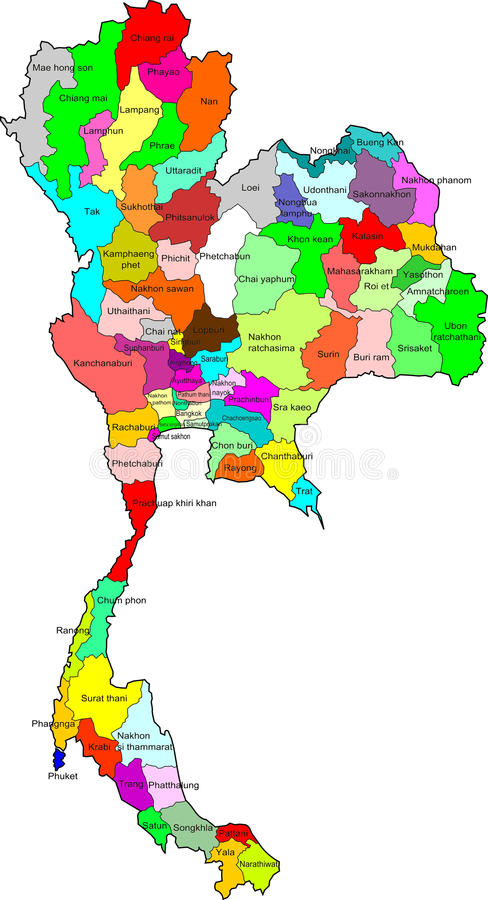 Thailand Map Boundary Color Stock Illustration Illustration of
