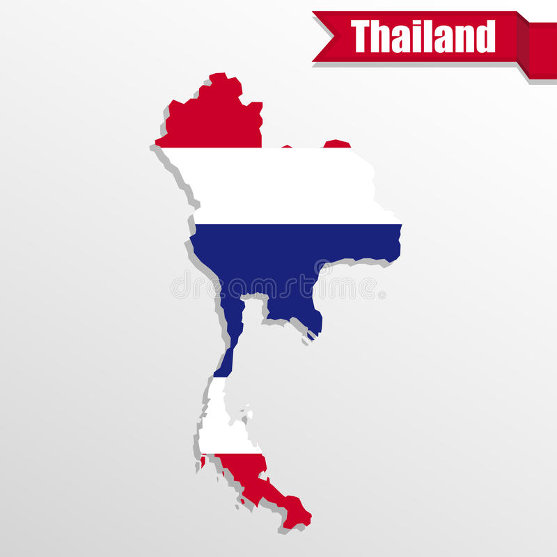Thailand map with flag inside and ribbon royalty free illustration