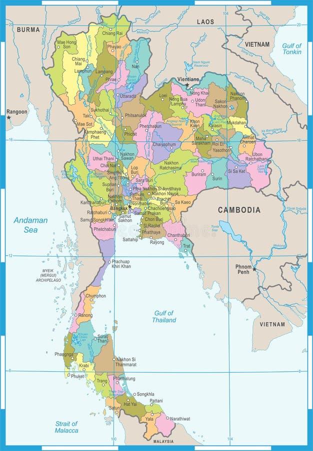Thailand Map - Detailed Vector Illustration Stock Illustration ...