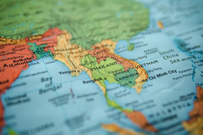 Thailand on a map. Selective focus on label stock photography