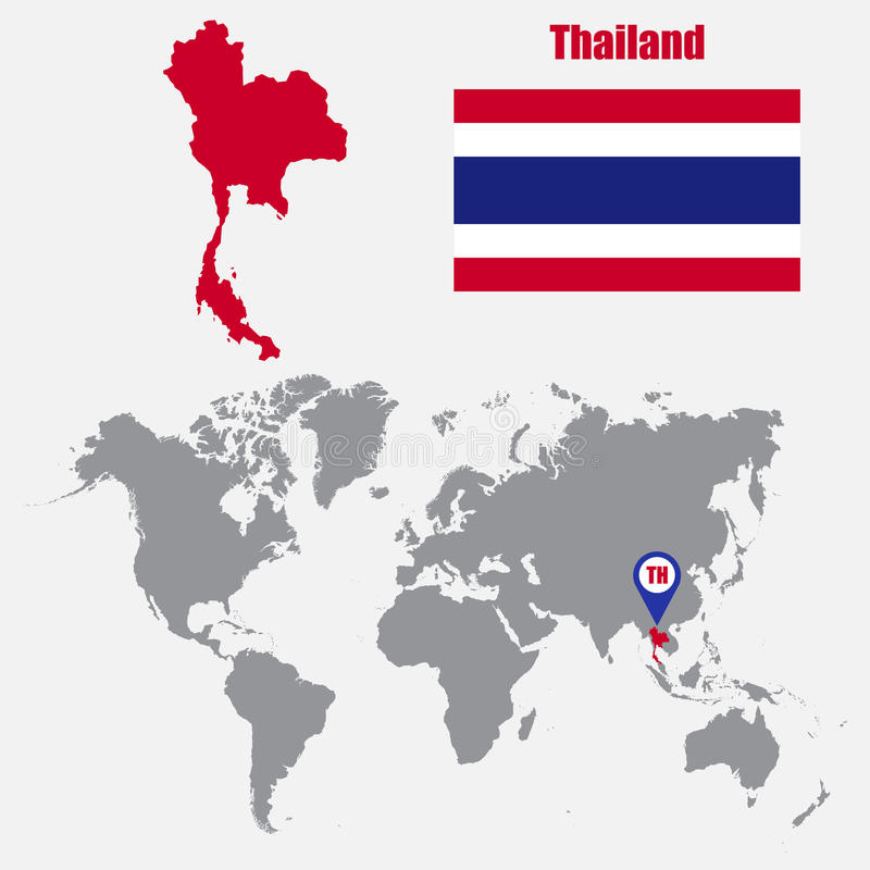 Thailand map on a world map with flag and map pointer vector download thailand map on a world map with flag and map pointer vector illustration stock gumiabroncs Images