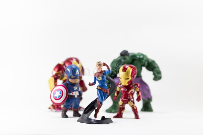 THAILAND, MAY 2018 :the adventure team on white background : Mar. Vel toy collection in marketing campaign from Tesco Lotus Express royalty free stock photos