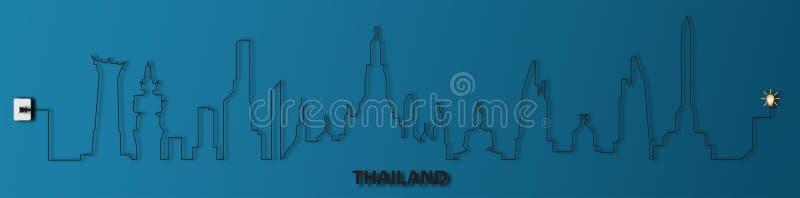 Thailand med håligheten, elektricitet, illustration vektor illustrationer