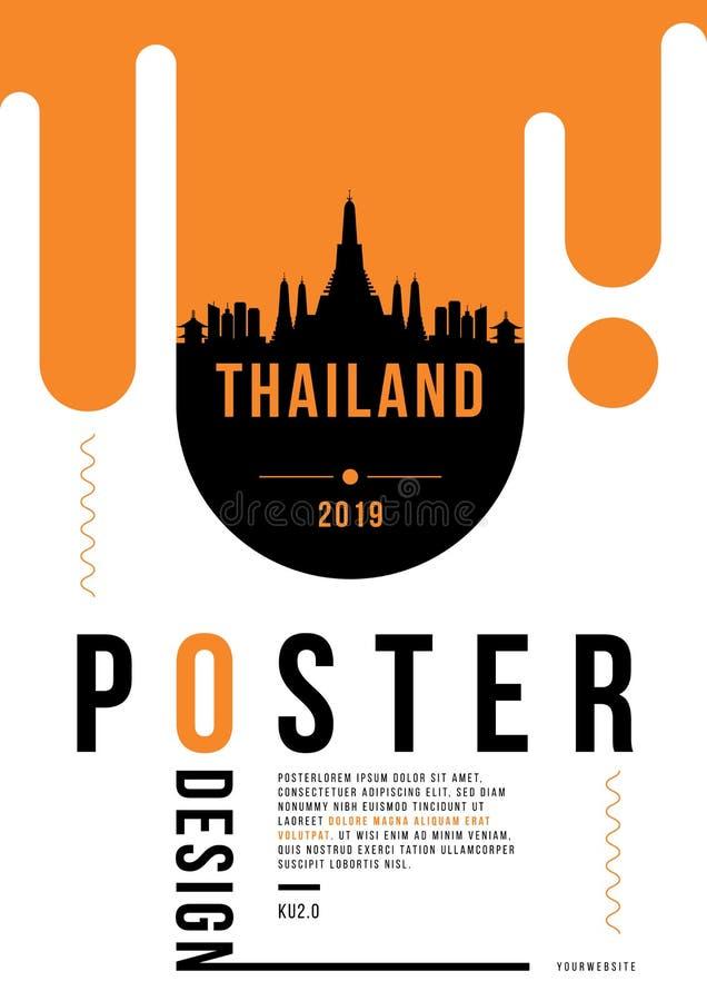 Thailand modern affischdesign med linjär horisont för vektor royaltyfri illustrationer