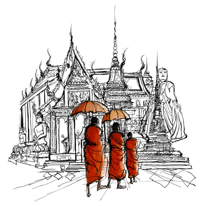 Thailand, monks in a temple. Vector and Illustration vector illustration