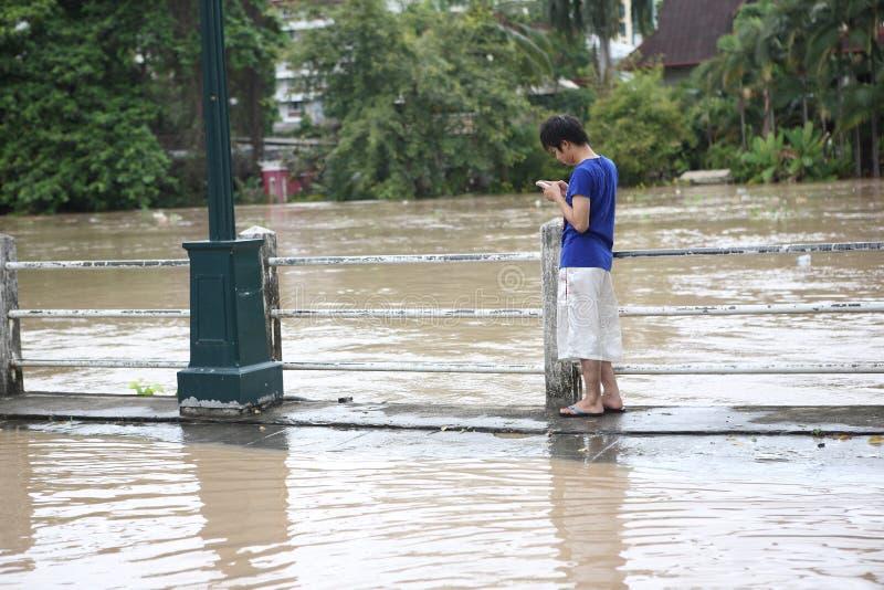 Download Thailand Monsoon , Man On Flood Editorial Photo - Image: 21672201