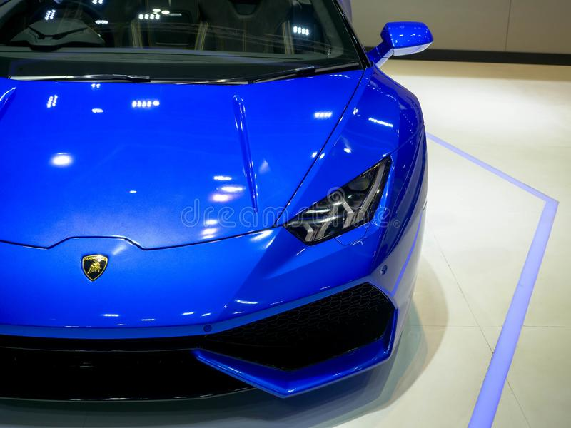Thailand motorshow Bangkok 2019 - April 3, 2019: Lamborghini toppen bil på skärm på den 40th BANGKOK MOTORISKA SHOWEN 2019 på Apr arkivfoton