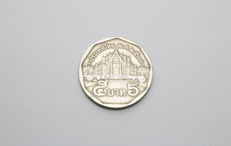 Thailand mynt i vit royaltyfri fotografi