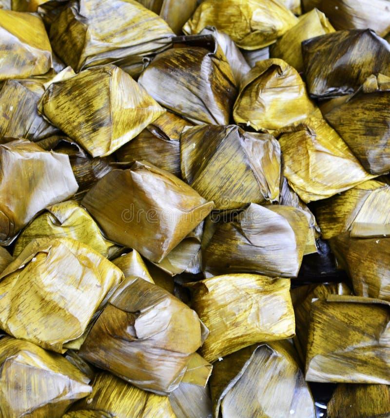 Thailand-Nachtisch mit Bananenblatt stockbilder
