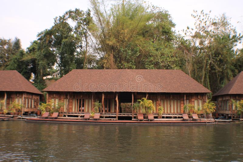 Thailand nice vintage pool villa view. Thailand nice vintage pool villa and flooding hotel at river stock photo