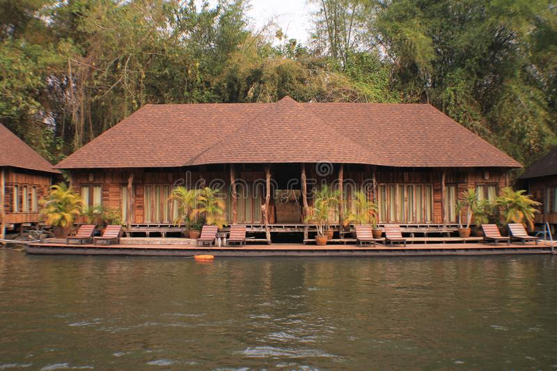 Thailand nice vintage pool villa view. Thailand nice vintage pool villa and flooding hotel at river stock photos