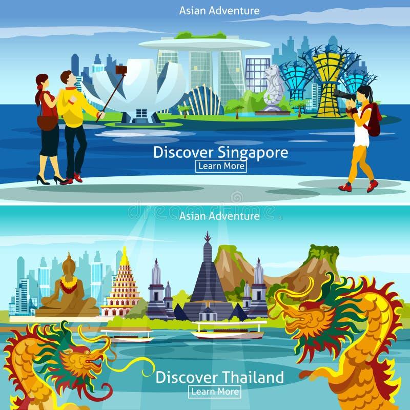 Thailand och Singapore loppsammansättningar royaltyfri illustrationer