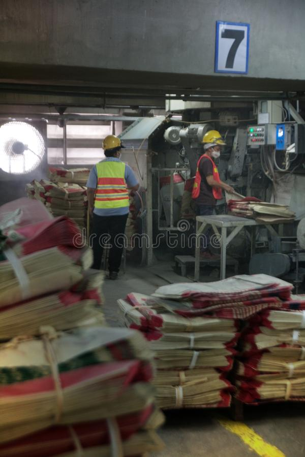 Cement factory workers stock photo