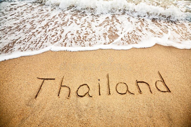 Thailand op het zand royalty-vrije stock afbeelding