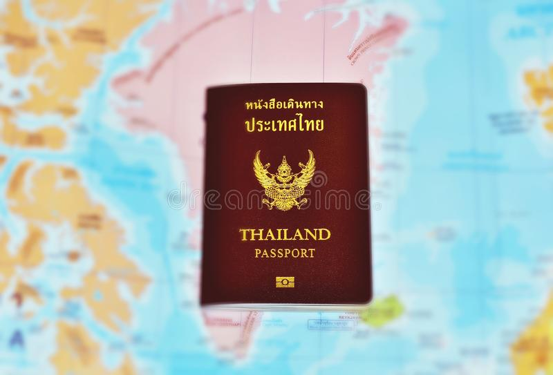 Thailand passport and map - image stock photography