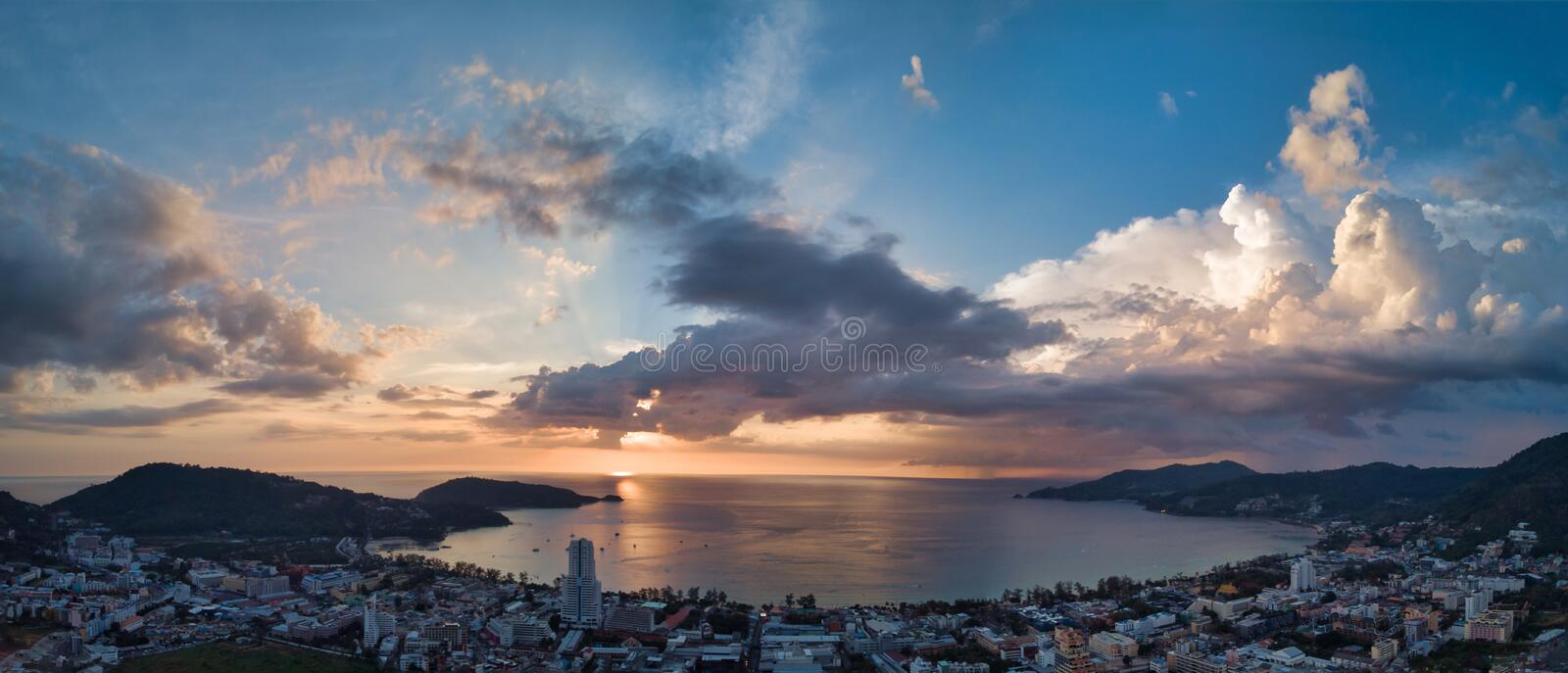 Thailand Phuket Patong bay sunset panorama aerial view stock image