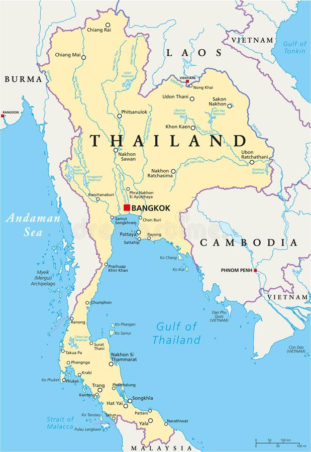 Thailand Political Map Stock Vector Image Of Trang - Map of thailand cities