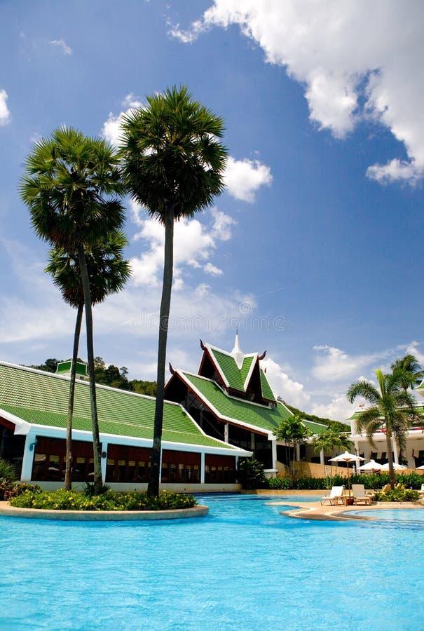 Thailand-Rücksortierunghotel-Swimmingpool lizenzfreies stockfoto