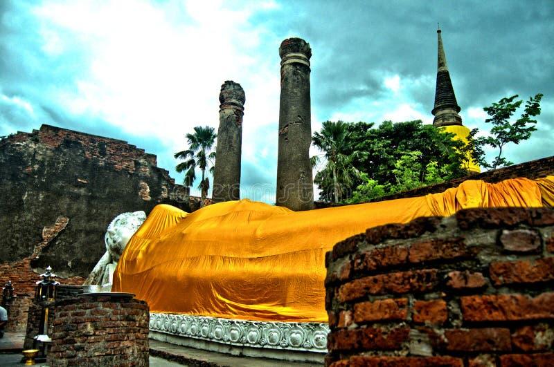 Thailand Recumbent Buddha near Ayutthaya Temple royalty free stock photos