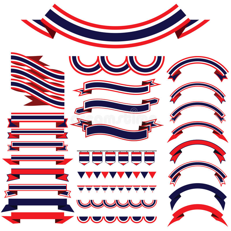 Thailand ribbon set . Bunting pennants for Independence Day. stock illustration