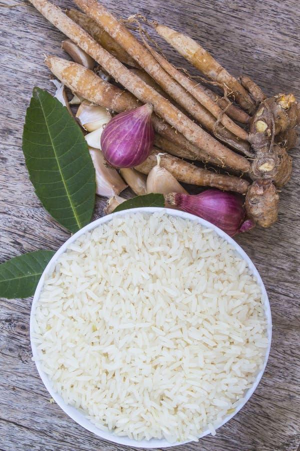 Thailand rice herbs royalty free stock photo