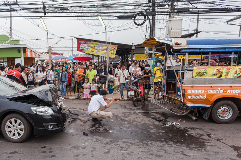 Thailand road accident. On March 23, 2015 at 16.30 hrs., Police in the province. Receiving an That car crash on road are injured in 2 cases. Thailand is known stock image