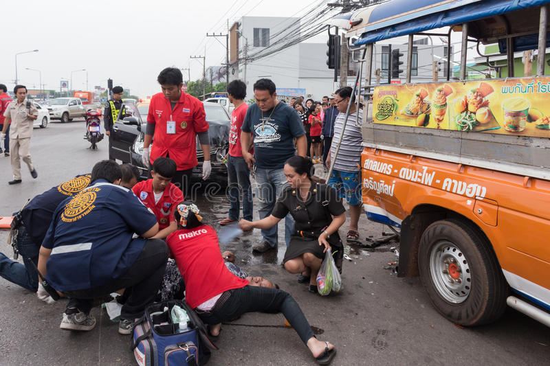 Thailand road accident. On March 23, 2015 at 16.30 hrs., Police in the province. Receiving an That car crash on road are injured in 2 cases. Thailand is known stock photography