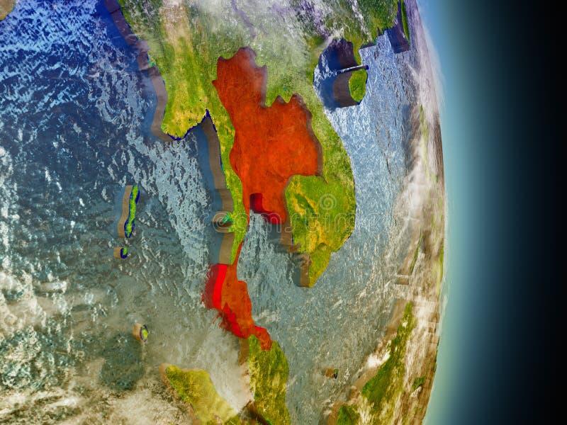 Thailand in rood van ruimte royalty-vrije illustratie