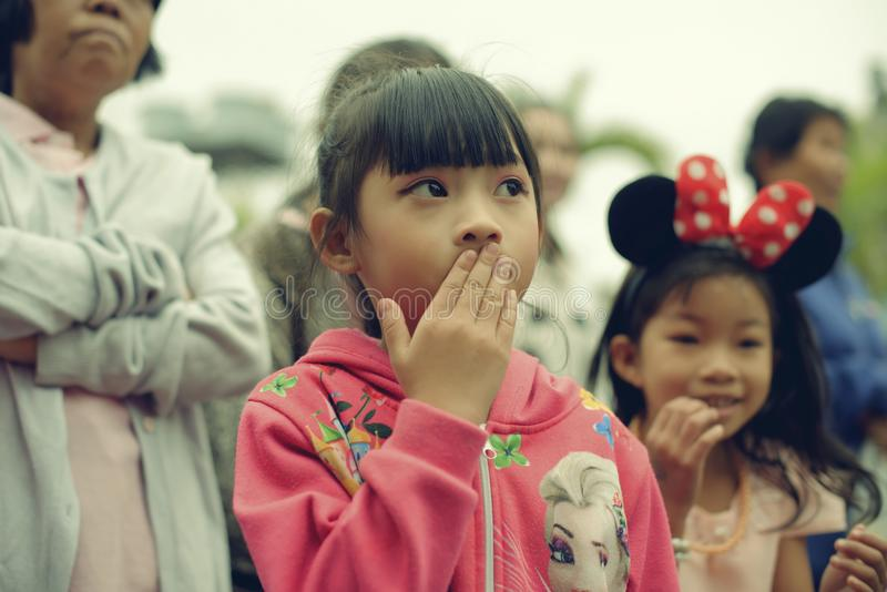 Thailand`s National Children`s Day - The Photo of a child at a children`s day at Saraphi - Chiangmai. Thailand -13 January 2018.  royalty free stock photo