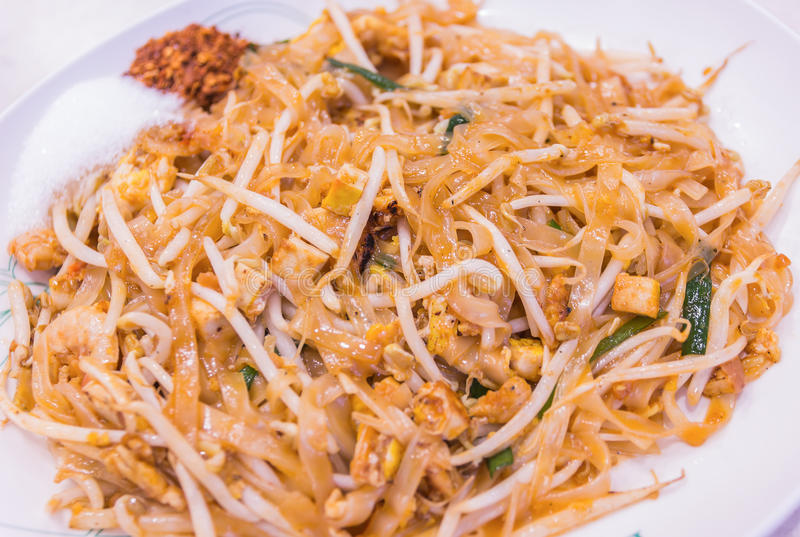 Thailand's national dishes, stir-fried noodles with egg, royalty free stock photo