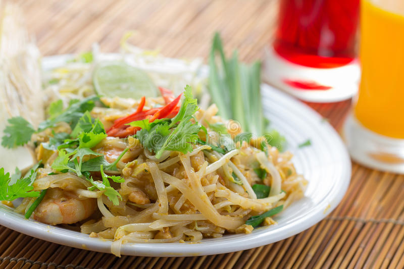 Thailand's national dishes, stir-fried rice noodles with egg stock photography