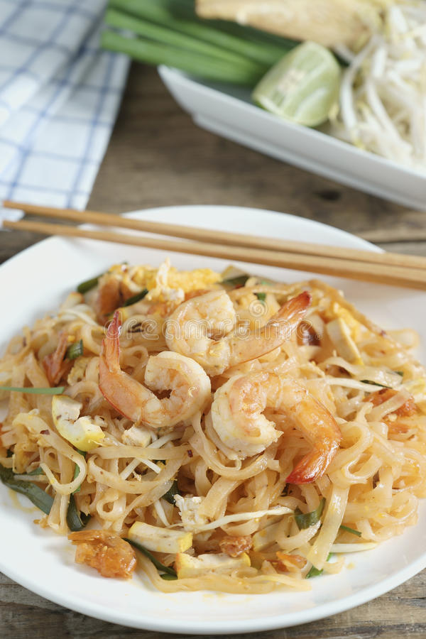 Thailand`s national dishes, stir-fried rice noodles. Pad Thai stock photography