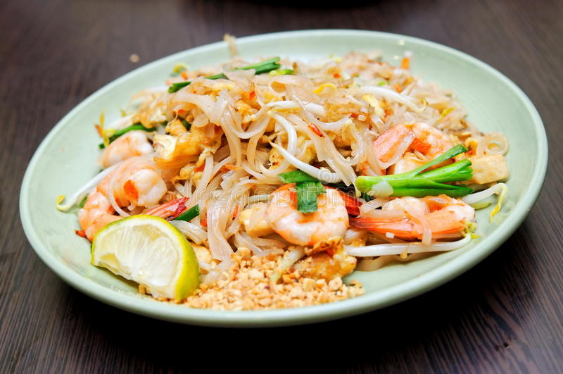 Thailand seafood pad thai royalty free stock photography