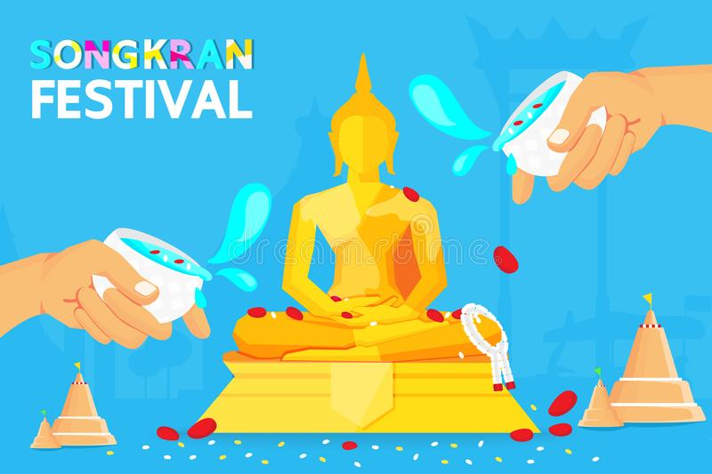 Thailand Songkran Festival Is the new year of Thailand . Most people prefer to go to the temple to. Sprinkle water on to a Buddha Statue vector illustration