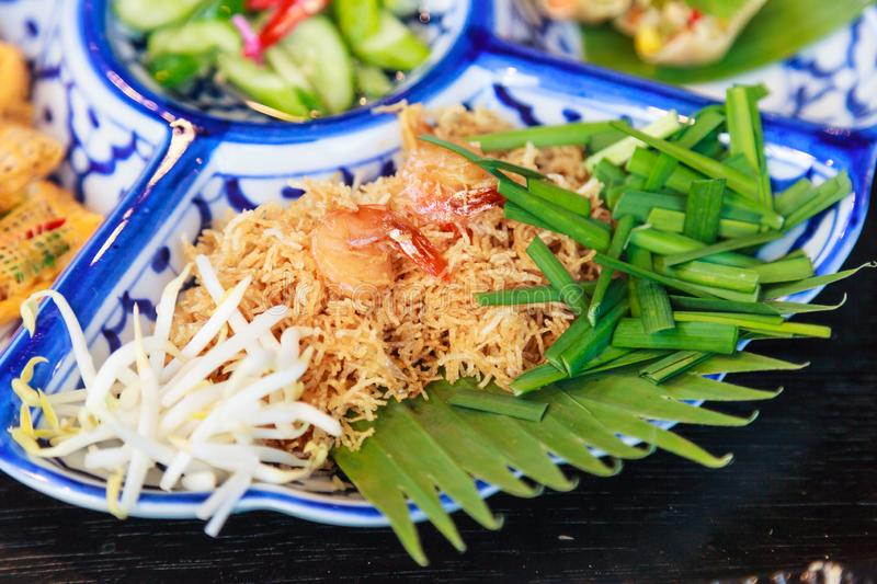 Thailand street food: Mi krop, Traditional Thai Crispy Noodle Dish made with rice noodles and sweet flavored sauce, served on stock image