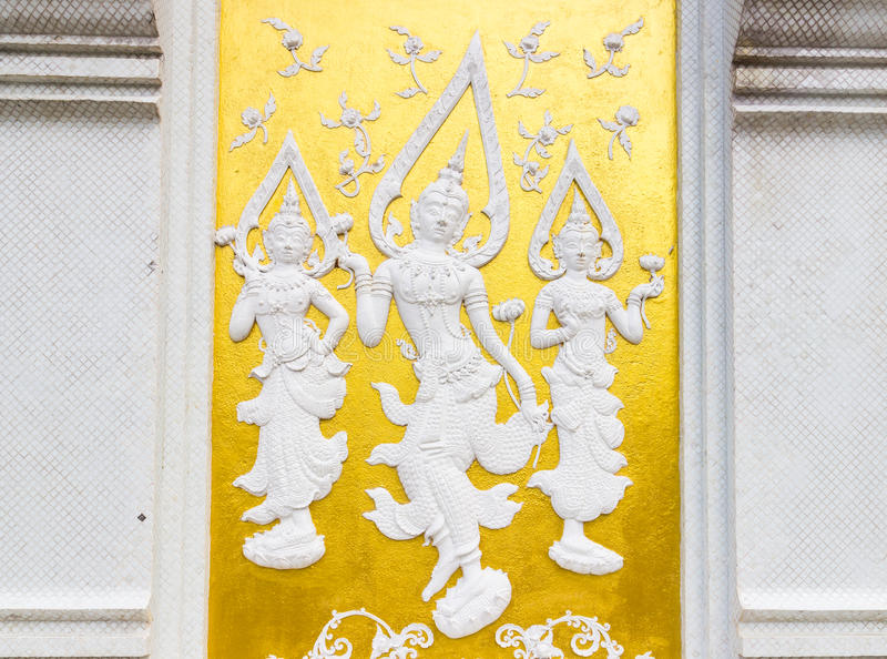 Thailand style white angel bas-relief royalty free stock photography