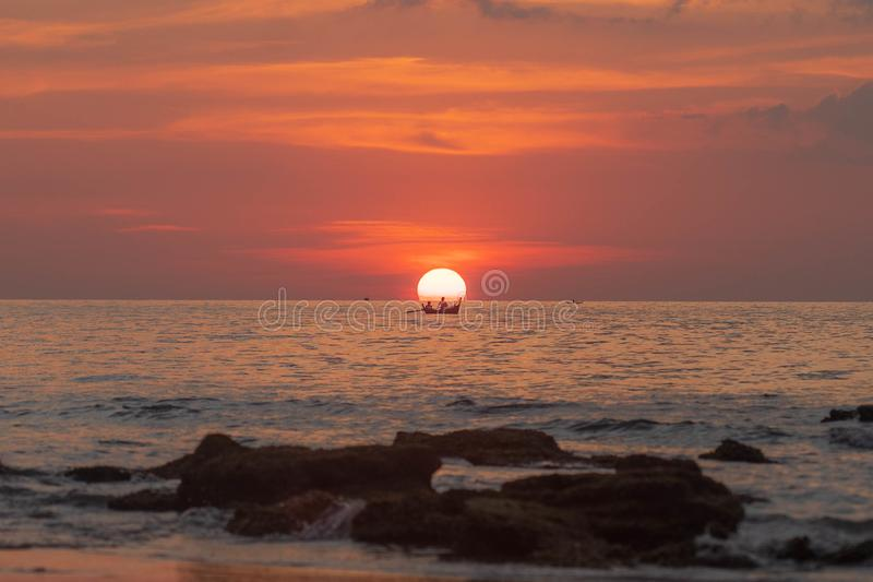 Thailand Sunset boat in the sun royalty free stock photography