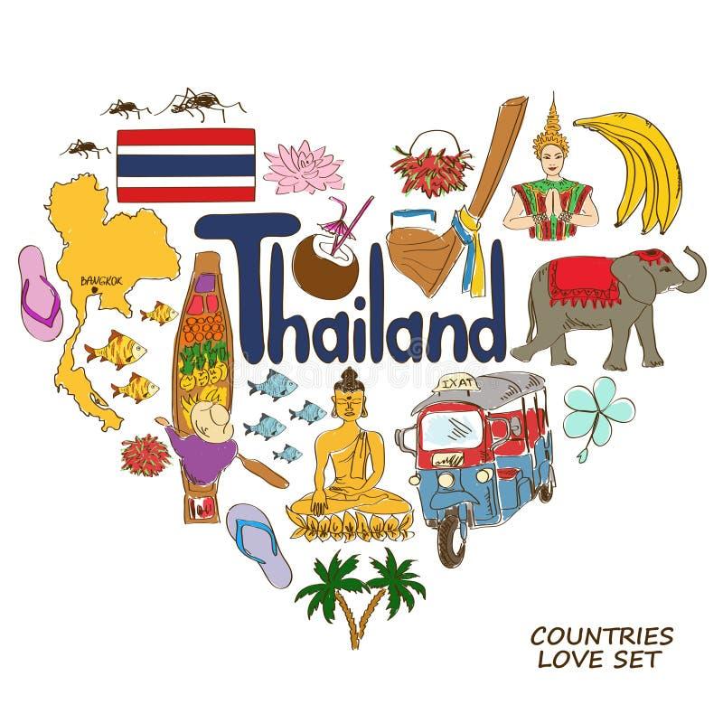 Thailand symboler i hjärtaformbegrepp vektor illustrationer