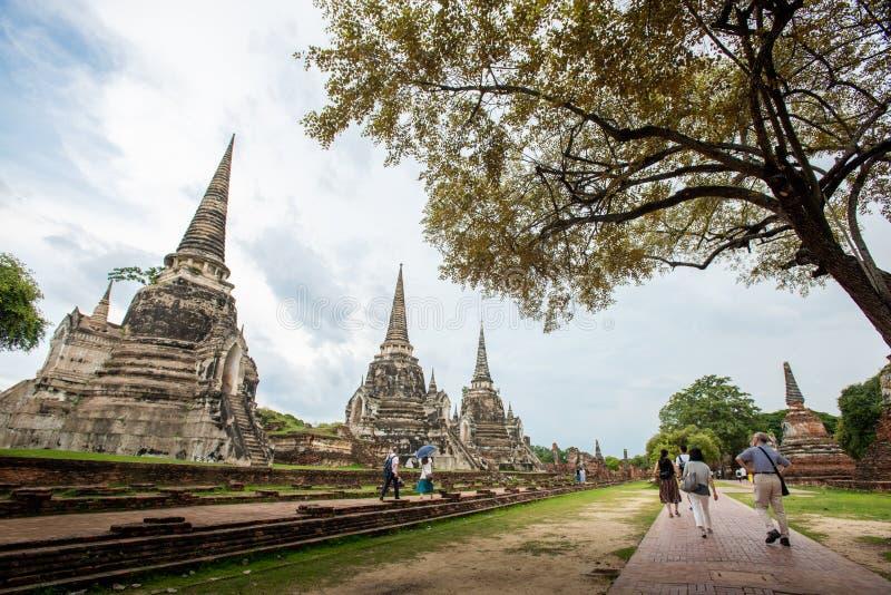Thailand tempel - den gamla pagoden p? Wat Yai Chai Mongkhon, historiska Ayutthaya parkerar, Thailand royaltyfria foton