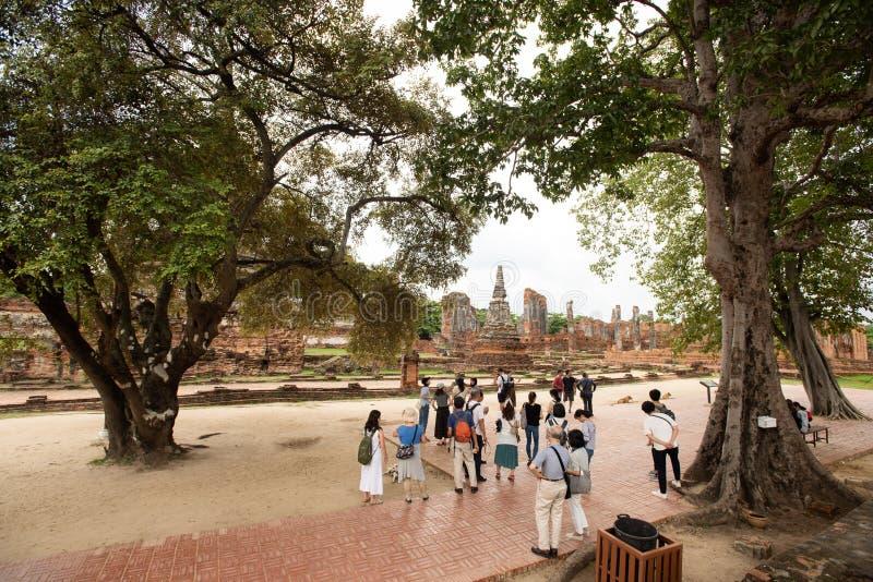 Thailand tempel - den gamla pagoden p? Wat Yai Chai Mongkhon, historiska Ayutthaya parkerar, Thailand fotografering för bildbyråer