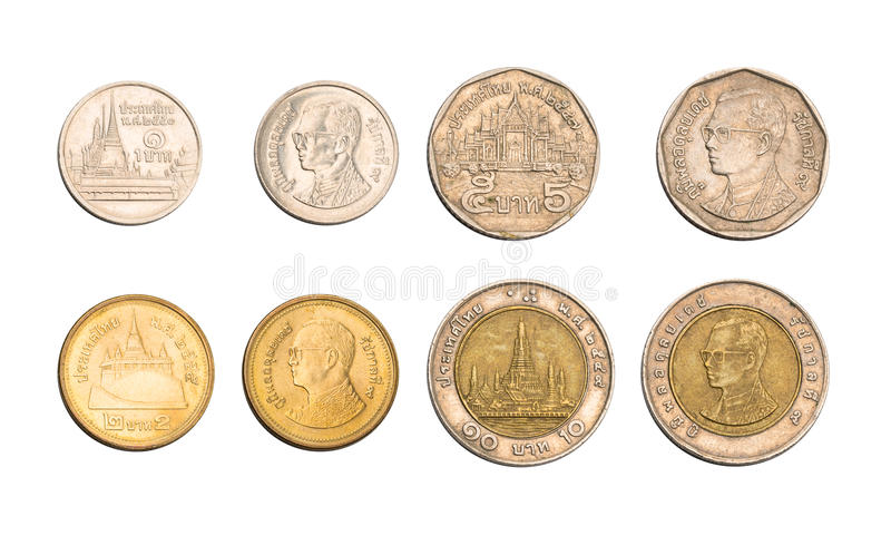 Thailand Thai Baht coins. The both sides of Thailand Thai Baht coins royalty free stock images